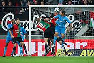 27-08-2011: Voetbal:NEC Nijmegen:Heracles Almelo:Niijmegen<br /> NEC's Ryan KOOLWIJK wint het luchtduel van Heracles Almelo's EVERTON. NEC's Rens VAN EIJDEN gaat mee de lucht in terwijl Heracles Almelo's Glynor Plet en NEC's Bram NUYTINCK toekijken <br /> Foto: Geert van Erven