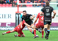 Glasgow Warriors' Ryan Wilson under pressure from Scarlets' Rob Evans<br /> <br /> Photographer Simon King/Replay Images<br /> <br /> Guinness PRO14 Round 19 - Scarlets v Glasgow Warriors - Saturday 7th April 2018 - Parc Y Scarlets - Llanelli<br /> <br /> World Copyright © Replay Images . All rights reserved. info@replayimages.co.uk - http://replayimages.co.uk