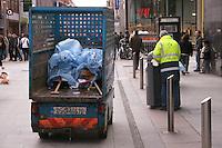 Dublin City Street cleaner on Henry Street Dublin Ireland