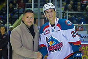 KELOWNA, CANADA - JANUARY 30:  Macdermots Presentation with Conner Bruggen-Cate (20) of the Kelowna Rockets at the Kelowna Rockets game on January 30, 2018 at Prospera Place in Kelowna, British Columbia, Canada.  (Photo By Cindy Rogers/Nyasa Photography,  *** Local Caption ***