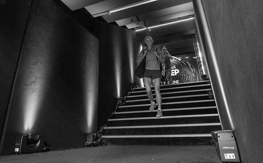 Caroline Wozniacki of Denmark ahead of the women's singles championship match during the 2018 Australian Open on day 13 in Melbourne, Australia on Saturday night January 27, 2018.<br /> (Ben Solomon/Tennis Australia)