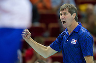 Laurent Tillie Head Coach of France team during the 2013 CEV VELUX Volleyball European Championship match between Russia v France at Ergo Arena in Gdansk on September 25, 2013.<br /> <br /> Poland, Gdansk, September 25, 2013<br /> <br /> Picture also available in RAW (NEF) or TIFF format on special request.<br /> <br /> For editorial use only. Any commercial or promotional use requires permission.<br /> <br /> Mandatory credit:<br /> Photo by © Adam Nurkiewicz / Mediasport