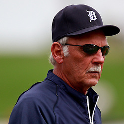 March 9, 2011; Lakeland, FL, USA; Detroit Tigers manager Jim Leyland (10)before a spring training exhibition game against the Philadelphia Phillies at Joker Marchant Stadium.   Mandatory Credit: Derick E. Hingle