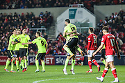Brighton striker, Tomer Hemed (10) celebrates his goal during the Sky Bet Championship match between Bristol City and Brighton and Hove Albion at Ashton Gate, Bristol, England on 23 February 2016. Photo by Shane Healey.