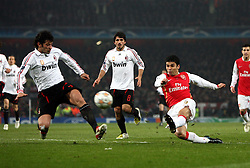 LONDON, ENGLAND - Wednesday, February 20, 2008 : Arsenal's Eduardo in action against AC Milan's Kakha Kaladze during the UEFA Champions 1st Knockout Round, 1st Leg match at The Emirates Stadium. (Photo by Chris Ratcliffe/Propaganda)