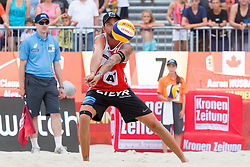 30.07.2017, Donauinsel, Wien, AUT, FIVB Beach Volleyball WM, Wien 2017, Herren, Gruppe L, im Bild Clemens Doppler (AUT) // Clemens Doppler of Austria during the men's group L match of 2017 FIVB Beach Volleyball World Championships at the Donauinsel in Wien, Austria on 2017/07/30. EXPA Pictures © 2017, PhotoCredit: EXPA/ Sebastian Pucher