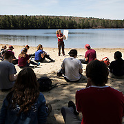 Alice Doughty lectures from Range Pond State Park during her Lost Maine Beaches class on May 7, 2018. Students hiked trails, observed glacial landforms, took samples as well as sieve and build a delta on the beach.