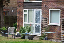 © Licensed to London News Pictures. 19/07/2019.<br /> Beckenham ,UK. A police cordon in place at the back of the residential flats. Police have launched a murder investigation after the body of a woman was found at a residential address in Beckenham, South East London. Police were called on Thursday 18th July. She was pronounced dead at the scene.  Photo credit: Grant Falvey/LNP
