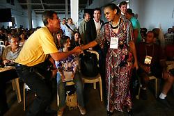 """A ex-ministra do meio ambiente, Marina Silva e Oded Grajew, um dos fundadores do Forum Social Mundial, na palestra sobre """"Rede Social Brasileira por Cidades Justas e Sustentáveis"""" no armazém 6 do Cais do Porto, em Porto Alegre durante as atividades do Forum Social Mundial 2010. FOTO: Jefferson Bernardes/Preview.com"""