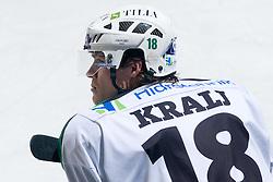 Jure Kralj (HDD Tilia Olimpija, #18) during ice-hockey match between HDD Tilia Olimpija and EHC Liwest Black Wings Linz in 37th Round of EBEL league, on Januar 9, 2011 at Hala Tivoli, Ljubljana, Slovenia. (Photo By Matic Klansek Velej / Sportida.com)