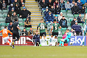 Luton Town's Jack Marriott score a goal past Plymouth Argyle goalkeeper Luke McCormick to give the away team a 1-0 lead during the Sky Bet League 2 match between Plymouth Argyle and Luton Town at Home Park, Plymouth, England on 19 March 2016. Photo by Graham Hunt.