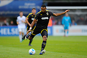 Liam Trotter (14) of AFC Wimbledon during the Pre-Season Friendly match between Aldershot Town and AFC Wimbledon at the EBB Stadium, Aldershot, England on 28 July 2017. Photo by Graham Hunt.