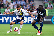 MELBOURNE, AUSTRALIA - APRIL 14: Mario Shabow (23) of the Mariners is challenged for the ball during round 25 of the Hyundai A-League match between Melbourne Victory and Central Coast Mariners on April 14, 2019 at AAMI Park in Melbourne, Australia. (Photo by Speed Media/Icon Sportswire)