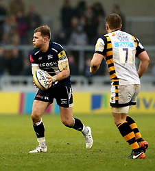 Will Addison (c) of Sale Sharks runs with the ball - Mandatory by-line: Robbie Stephenson/JMP - 19/02/2017 - RUGBY - AJ Bell Stadium - Sale, England - Sale Sharks v Wasps - Aviva Premiership