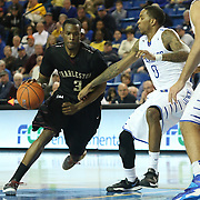 College of Charleston Forward Anthony Thomas (3) drives to the paint as Delaware Guard Davon Usher (0) defends  in the second half of a NCAA regular season Colonial Athletic Association conference game between Delaware and The College of Charleston Wednesday, Feb 5, 2014 at The Bob Carpenter Sports Convocation Center in Newark Delaware.