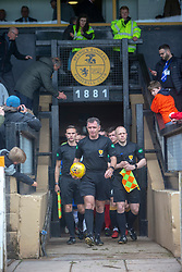 Ref John McKendrick leads the teams out. Cove Rangers have become the SPFL's newest side and ended Berwick Rangers' 68-year stay in Scotland's senior leagues by earning a League Two place. Berwick Rangers 0 v 3 Cove Rangers, League Two Play-Off Second Leg played 18/5/2019 at Berwick Rangers Stadium Shielfield Park.