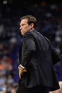 Oct 25, 2017; Phoenix, AZ, USA; Utah Jazz head coach Quin Snyder reacts in the game against the Phoenix Suns at Talking Stick Resort Arena. Mandatory Credit: Jennifer Stewart-USA TODAY Sports
