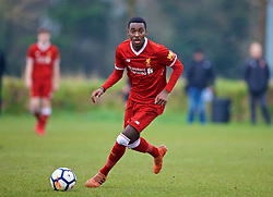WOLVERHAMPTON, ENGLAND - Tuesday, December 19, 2017: Liverpool's Rafael Camacho during an Under-18 FA Premier League match between Wolverhampton Wanderers and Liverpool FC at the Sir Jack Hayward Training Ground. (Pic by David Rawcliffe/Propaganda)
