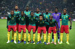November 20, 2018 - Milton Keynes, United Kingdom - Cameroon Team.L-R Back Row:- Eric Maxim Choupo-Moting, Yaya Banana, Georges Mandjeck, Stephane Bahoken, Andre Onana and Gaetan Bong of Cameroon..L-R Front Row :-  Jean-Armel Kana-Biyik, Arnaud Djoum, Karl Toko Ekambi, Pierre Kunde Malong and Jeando Fuchs of Cameroon  .during Chevrolet Brazil Global Tour International Friendly between Brazil and Cameroon at Stadiummk stadium , MK Dons Football Club, England on 20 Nov 2018. (Credit Image: © Action Foto Sport/NurPhoto via ZUMA Press)