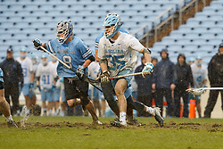 CHAPEL HILL, NC - FEBRUARY 23: Zachary Tucci #35 of the North Carolina Tar Heels during a game against the Johns Hopkins Blue Jays on February 23, 2019 at Kenan Stadium in Chapel Hill, North Carolina. Hopkins won 11-10. (Photo by Peyton Williams/US Lacrosse)