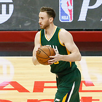 25 April 2017: Utah Jazz forward Gordon Hayward (20) looks to pass the ball during the Utah Jazz 96-92 victory over the Los Angeles Clippers, during game 5 of the first round of the Western Conference playoffs, at the Staples Center, Los Angeles, California, USA.