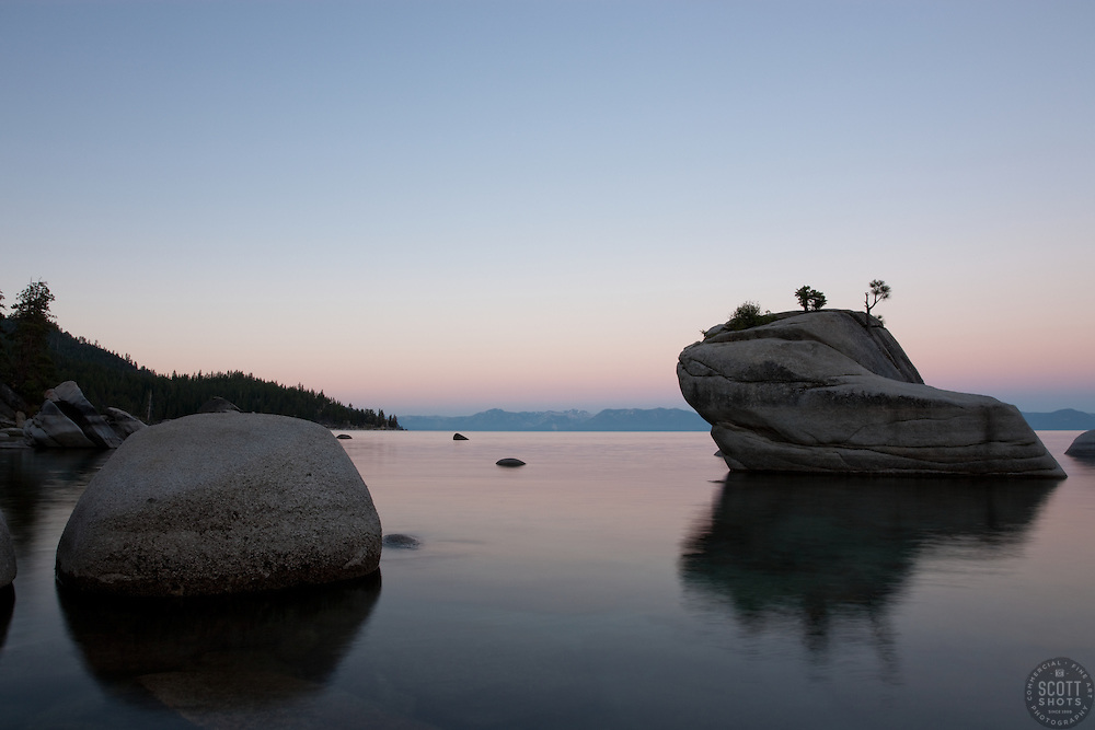 """Sunrise at Bonsai Rock 1"" - This sunrise was photographed at the beautiful Bonsai Rock, near Sand Harbor, Lake Tahoe."