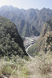 View of Machu Picchu Pueblo / Aguas Calientes, Peru from Putukusi Mountain<br />
