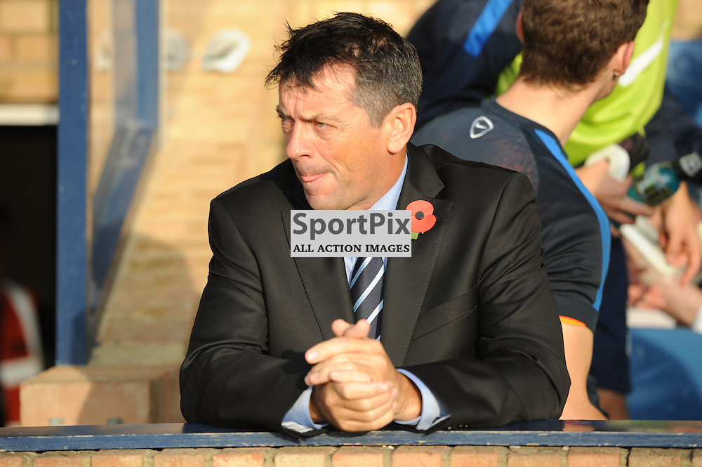 Southends manager Phil Brown takes his seat on the bench prior to the Southend v Rochdale game in Sky Bet League 1 on the 31st October 2015
