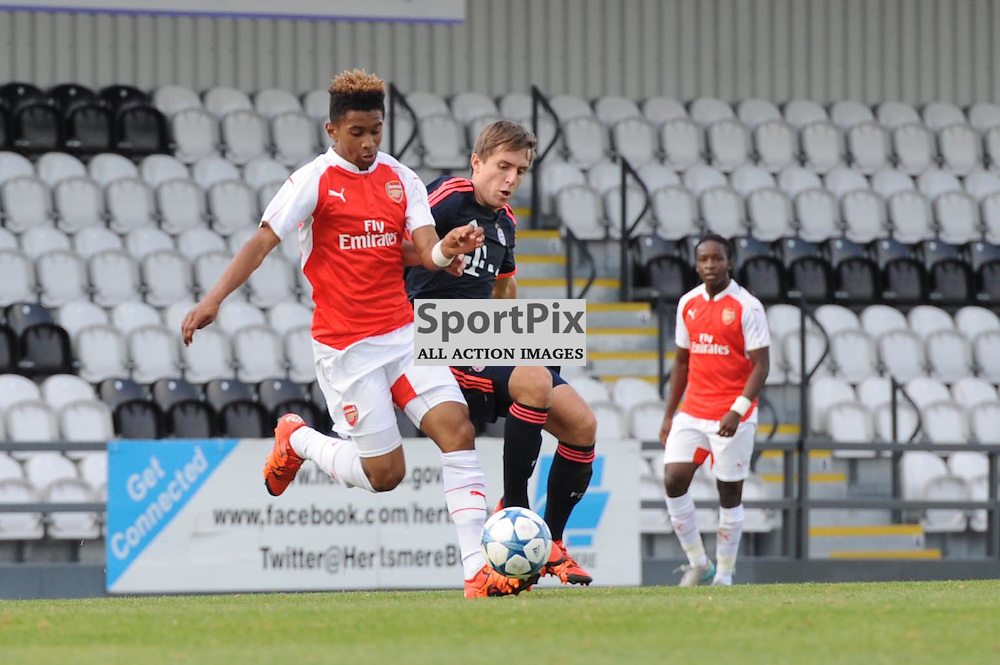 Arsenals Reiss Nelson and Bayern Munichs Nicola Della Schiava in action during the Arsenal u19 v Bayern Munich u19 match on Tuesday 20th October 2015 in the UEFA Youth League at Borehamwood