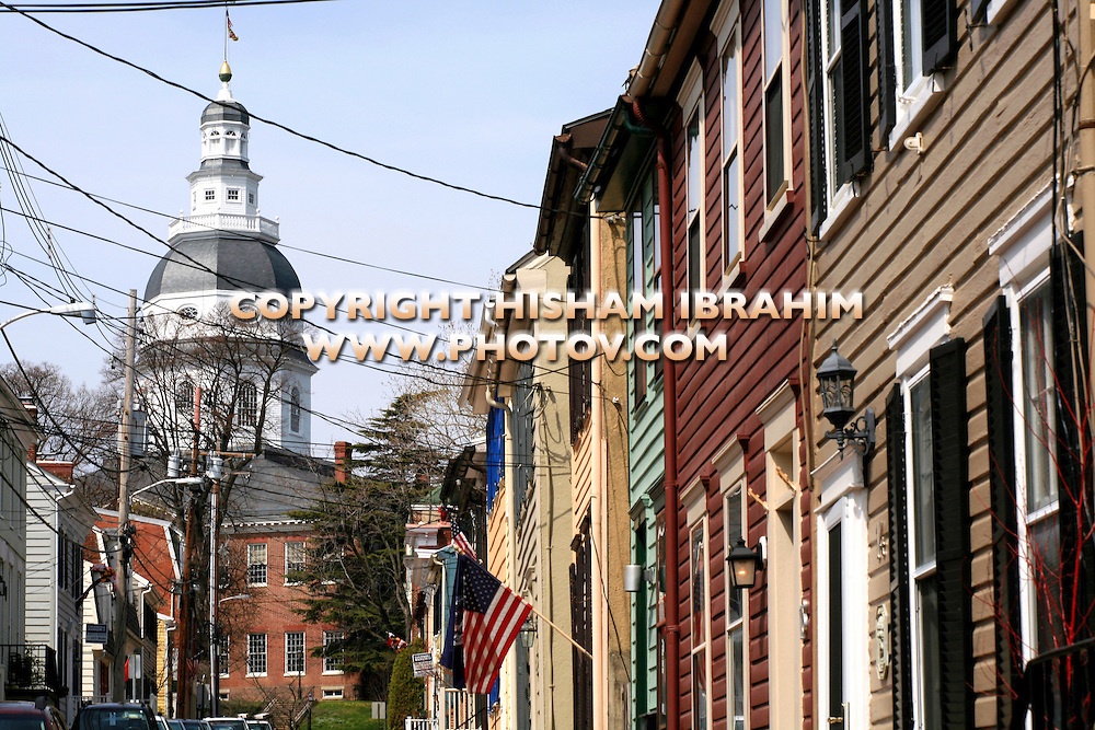 State Capitol Building and side street, Annapolis, Maryland, USA