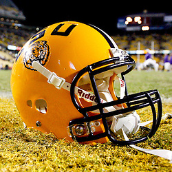 November 17, 2012; Baton Rouge, LA, USA  A detail of a LSU Tigers helmet left on the field following a win over the Ole Miss Rebels at Tiger Stadium. LSU defeated Ole Miss 41-35. Mandatory Credit: Derick E. Hingle-US PRESSWIRE