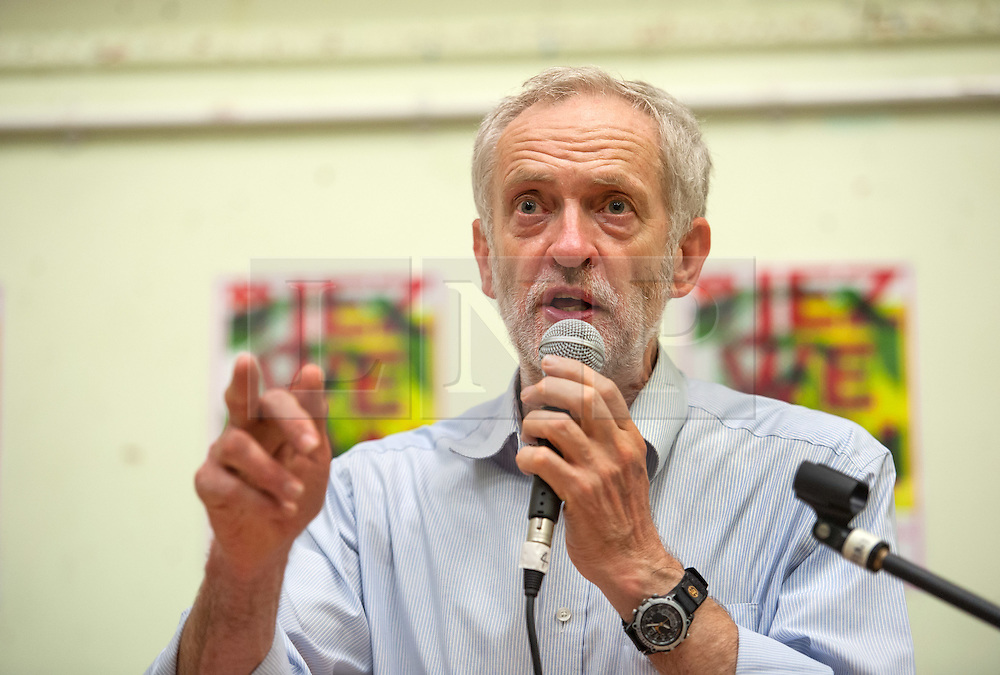 © Licensed to London News Pictures. 23/07/2015. Bristol, UK.  JEREMY CORBYN, a candidate in the Labour Party leadership election, does a question and answer session at the Malcolm X Community Centre in St Pauls, Bristol.  The event was organised by the Bristol branch of the The People's Assembly Against Austerity, which has backed Mr Corbyn as Labour leader.  Photo credit : Simon Chapman/LNP