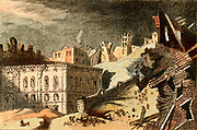 The Great Lisbon Earthquake of l November 1755 which destroyed much of the city and killed thousands of the inhabitants. The earthquake was followed by a tidal wave, and further damaged by fire that broke out.  Aftershocks were felt many weeks after the main event. This historical event is described in the philosophical novel 'Candide' by Voltaire (1759).