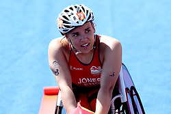 England's Jade Jones celebrates winning gold in the Women's Para-triathlon Final at the Southport Broadwater Parklands during day three of the 2018 Commonwealth Games in the Gold Coast, Australia.