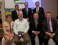 Peter Young IFJ, Gareth Gormally Dept Agriculture NI, David Small, DARDNI,  and seated MEP Mairead McGuinness, Larry Masterson Blissberry Social Farm, Prof Gerry Boyle, Director Teagasc , and John Concannon JFC at the JFC Innovation awards sponsored by Teagasc, DARD Northern Ireland and the Irish Farmers Journal at the Claregalway Hotel. Photo:Andrew Downes
