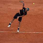Potito Starace of Italy losing to Andy Murray, Great Britain,  in the second round of the the French Open Tennis Tournament in Paris, France on Wednesday, May 27, 2009. Photo Tim Clayton.