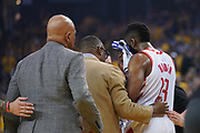 April 30, 2019; Oakland, CA, USA; Houston Rockets guard James Harden (13) walks off the court after an injury against the Golden State Warriors during the first quarter in game two of the second round of the 2019 NBA Playoffs at Oracle Arena.