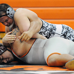 TOM KELLY IV &mdash; DAILY TIMES<br /> Marple Newtown's Lavante Goodwin wrestles Strath Haven's Justin Fremont in the 285 lb match during the Strath Haven at Marple Newtown wresting match, on Wednesday December 17, 2014.