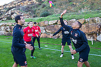 ESTEPONA - 06-01-2016, AZ in Spanje 6 januari, AZ speler Mounir El Hamdaoui, Niels Kok, AZ speler Guus Hupperts, AZ speler Dabney dos Santos Souza