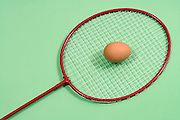 close up of a badminton racket with brown egg