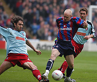 Photo:Alan Crowhurst.<br />CRYSTAL PALACE v WALSALL,Nationwide Division One,01/05/2004.Andy Johnson ic challenged by Zigor Arandale.