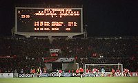 The scoreboard shows the final score in the last seconds of the match. Shakhtar Donetsk 3:0 Arsenal, UEFA Champions League, Group B, Centralny Stadium, Donetsk, Ukraine, 7/11/2000. Credit Colorsport / Stuart MacFarlane.