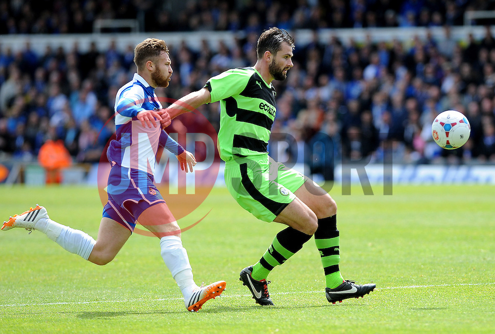 Bristol Rovers' Matty Taylor challenges Forest Green Rovers's Aarran Racine - Photo mandatory by-line: Neil Brookman/JMP - Mobile: 07966 386802 - 03/05/2015 - SPORT - Football - Bristol - Memorial Stadium - Bristol Rovers v Forest Green Rovers - Vanarama Football Conference