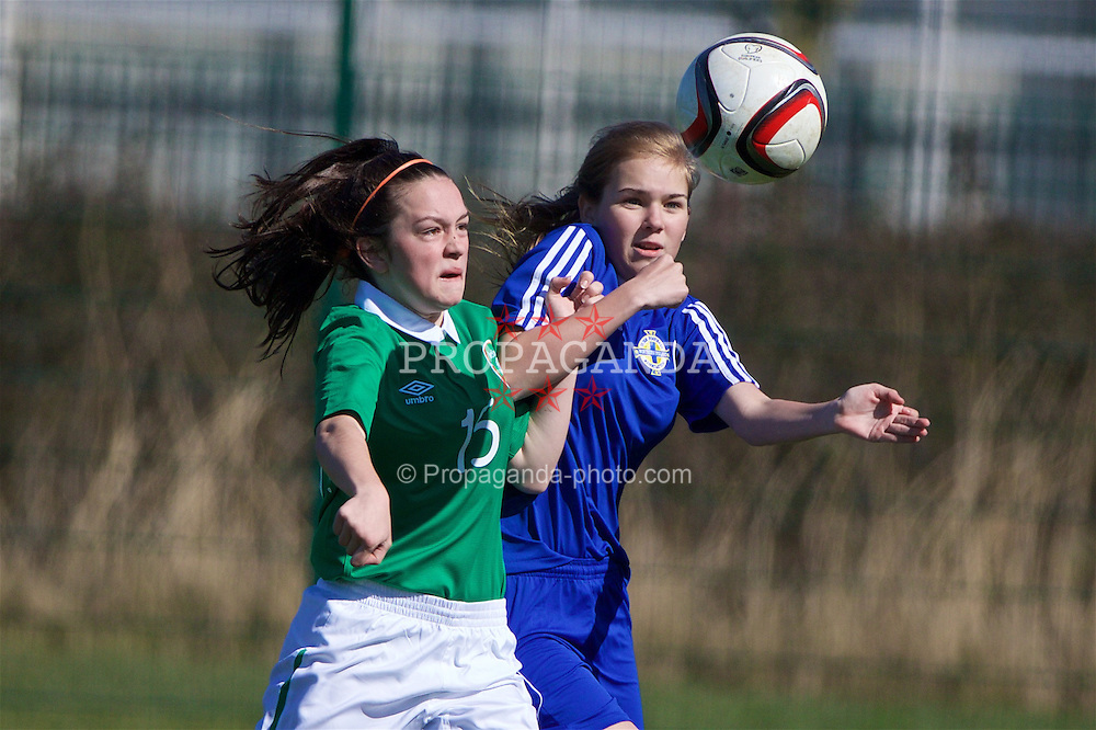 NEWPORT, WALES - Saturday, April 2, 2016: Republic of Ireland's Alannah McEvoy in action against Northern Ireland's Zoe Kilpatrick on day two of the Bob Docherty International Tournament 2016 at Dragon Park. (Pic by David Rawcliffe/Propaganda)