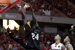 20 March 2017:  Tacko Fall puts the jam in the jar during a College NIT (National Invitational Tournament) 2nd round mens basketball game between the UCF (University of Central Florida) Knights and Illinois State Redbirds in  Redbird Arena, Normal IL