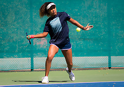 February 18, 2019 - Dubai, ARAB EMIRATES - Naomi Osaka of Japan practices ahead of the 2019 Dubai Duty Free Tennis Championships WTA Premier 5 tennis tournament (Credit Image: © AFP7 via ZUMA Wire)