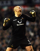 Photo: Daniel Hambury.<br />Tottenham Hotspur v Blackburn Rovers. The Barclays Premiership. 05/03/2006.<br />Tottenham's Paul Robinson celebrates victory.