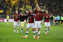 15.02.2014, Signal Iduna Park, Dortmund, GER, 1. FBL, Borussia Dortmund vs Eintracht Frankfurt, 21. Runde, im Bild vl: Jan Rosenthal (Eintracht Frankfurt #7), Sebastian Jung (Eintracht Frankfurt #24), Bastian Oczipka (Eintracht Frankfurt #6), Alexander Meier (Eintracht Frankfurt #14), Martin Lanig (Eintracht Frankfurt #13) auf dem Weg zu den Fans // during the German Bundesliga 21th round match between Borussia Dortmund and Eintracht Frankfurt at the Signal Iduna Park in Dortmund, Germany on 2014/02/15. EXPA Pictures © 2014, PhotoCredit: EXPA/ Eibner-Pressefoto/ Schueler<br /> <br /> *****ATTENTION - OUT of GER*****