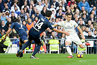 "Real Madrid's Lucas Vazquez and Malaga CF's Juan Carlos ""Juankar"" Perez and Jose Luis ""Recio"" Garcia during La Liga match between Real Madrid and Malaga CF at Santiago Bernabeu Stadium in Madrid, Spain. January 21, 2017. (ALTERPHOTOS/BorjaB.Hojas)"