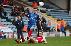 Gwion Edwards of Peterborough United in action with Kyle Dempsey of Fleetwood Town - Mandatory by-line: Joe Dent/JMP - 28/04/2018 - FOOTBALL - ABAX Stadium - Peterborough, England - Peterborough United v Fleetwood Town - Sky Bet League One